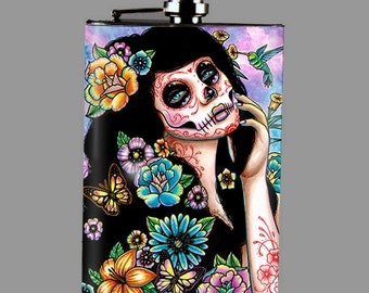Stainless Steel 8 oz. Hip Flask - Gardenia - Calavera Lowbrow Tattoo Art Sugar Skull Girl With Flowers