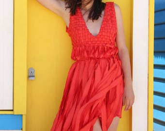 Red Dress women, Unique dress, Red carpet dress, Hollywood dress, Boho dress, Custom made