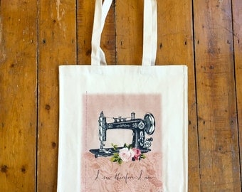 LIMITED EDITION Vintage Sewing Machine Tote Bag I Sew Therefore I Am Crafters Gift Project Bag Seamstress Singer Machine Roses