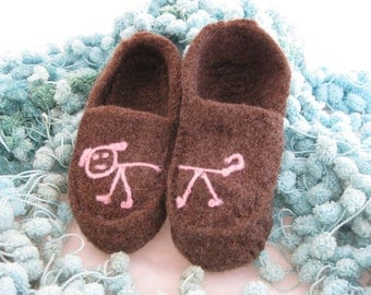 Brown Wool Knit Felted Moccasin Slipper Ladies Sizes 5, 6, 7, 8, 9, 10,  Made to Order, Stick Dog Design, Cozy Handmade Slippers, Wool Mocs