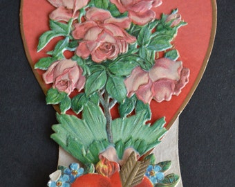Antique - Vintage 3D Pop Up Die Cut Valentine Romantic Bouquet of Roses and Big Red Heart