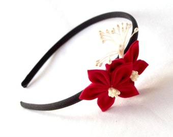 Elegant Black and Red Flower Girl Headband with Kanzashi
