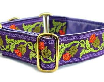Martingale Dog Collar or Buckle Dog Collar - Thistle Jacquard in Purple and Olive - 1.5 Inch