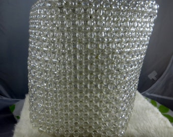 Beaded Lamp Shade Vintage Clear Plastic Beaded Unique and Funky Small Lamp Shade