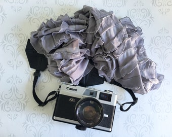 "Extra Long Scarf Style Ruffled Camera Strap, DSLR Camera Strap, Nikon, Canon, DSLR Photography, Wedding Photographer Gift -  43-53"" Gray"
