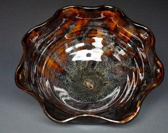 Dark Umber Ceramic Pottery Bowl Serving Bowl Salad Bowl A