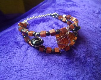 "Handmade Goldstone Bead ""Cuff"" Bracelet with Wire Wrapped Beads"