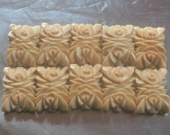 10 Carved Bone Beads, Vintage Beads, Floral Beads, Rectangular Shape, Antique Beads