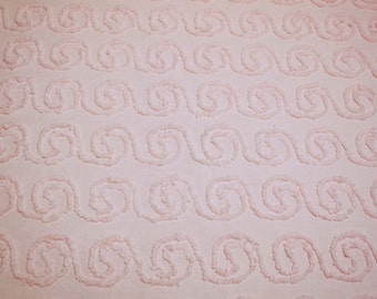 Pretty Cloud Pink Curls or Swirls Vintage Chenille Bedspread Fabric Piece - 30 x 25 Inches