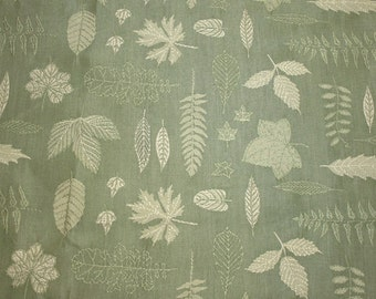 """Beautiful Sage Green and Cream Embroidered Leaves New Upholstery Weight Fabric Piece - 54"""" Wide by 36"""" Long"""
