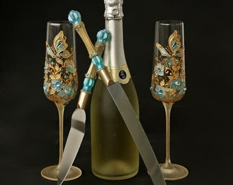 Wedding Glasses, Wedding Cake Server Set and Toasting Champagne Glasses, Hand Painted, Butterfly Wedding,Wedding Glasses