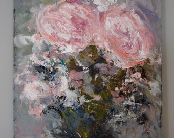 Abstract Painting Floral painting Flower painting  Peony Blue Bourquet Forever & Always 9 x 12 Swalla Studio