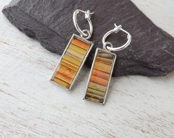 SALE: Stripe Hoop Earrings, Reversible Resin Charm Earrings, Brown Earrings, Resin Jewellery, Brown Jewellery, Charm Jewellery, UK, 793