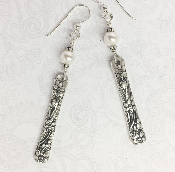 "Spoon Earrings with White Crystal Pearls, Silverware Jewelry ""Narcissus"" 1935"