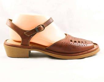 Size 7 Unworn Brown Leather Sandals - 1980s Deco Style Comfortable Shoe - Retro Open Toe Summer Sandal - 80s NOS Deadstock - 47887-2