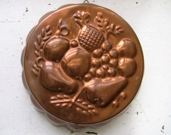 vintage copper gelatin mold fruit design  french farmhouse cottage shabby old world decor