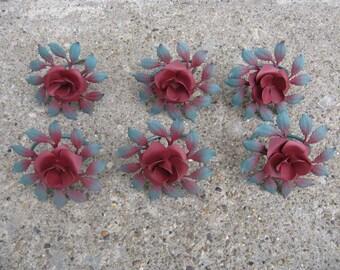 homco rose napkin rings home interiors hostess gift metal napkin rings original box shabby feminine tea party