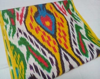 Uzbek colorful silk ikat fabric. Traditional handwoven fabric Adras. F042