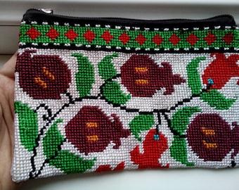 Uzbek silk hand embroidery purse Pomegranates. Cross stitch emboidery