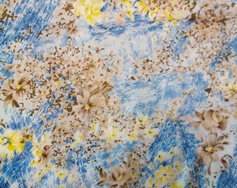 Uzbek vintage pure floral silk fabric 2,5 meters. VI022