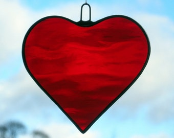 Stained Glass hanging ornament (Love Heart) cherry red rippling water glass