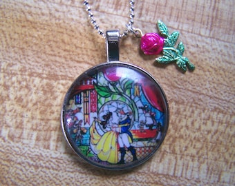 Beauty and the Beast Photo Cab Pendant Stained Glass Image