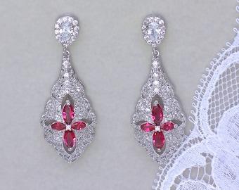 Red Chandelier Earrings, Ruby Crystal Earrings, Crystal Bridal Earrings, Crystal Wedding Earrings,  VERA R