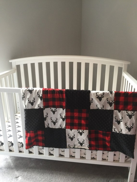Hello Bear Deer Stag Buck Amp Red Plaid And Black Minky Dot Baby