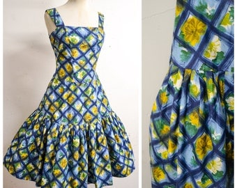 1950s Blue yellow rose print cotton sun dress / 50s full skirt Carnegie sundress - S M