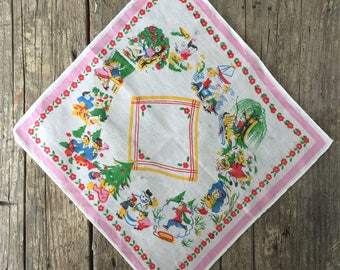 Vintage Child's Handkerchief, Winter, Summer, Spring, Fall