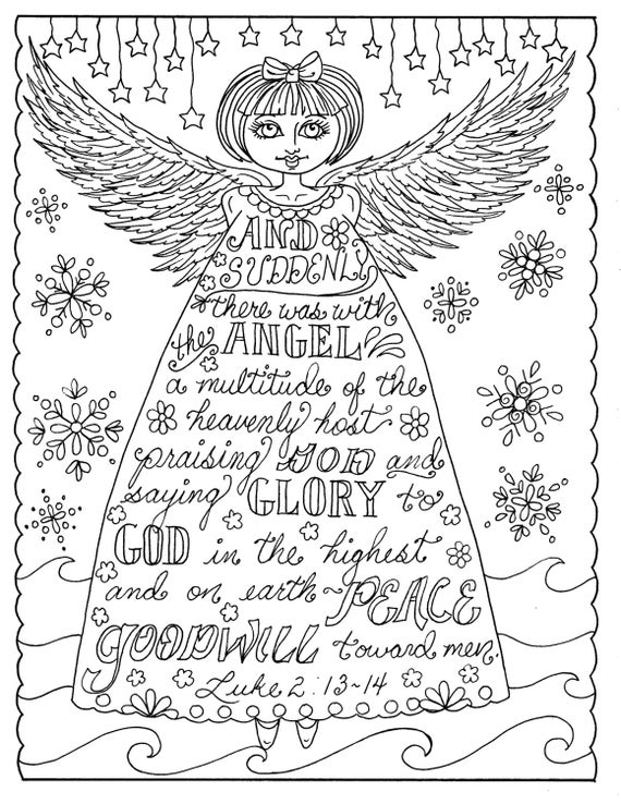 5 Pages Of Christmas Coloring Christian Scriptures Bible Adult Color Book Digital Digi Stamp Church