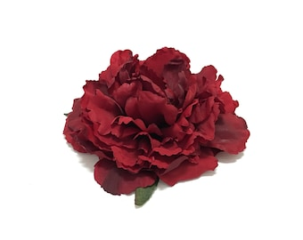 Large Red Artificial Peony - 5.5 to 6 Inches - Artificial Flower, Silk Flowers, Flower Crown, Wedding Flowers, Hair Accessories, Millinery