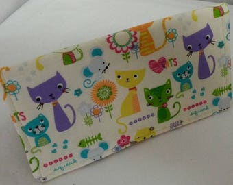 Checkbooks Cover Adorable Cute Cats Fabric Print Coupon Holder Clutch Purse Billfold Ready-Made