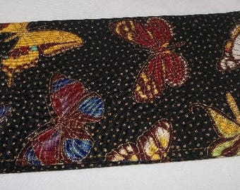 Colorful Butterflies Fabric Print Checkbook Cover Coupon Holder Clutch Purse Billfold Ready-Made