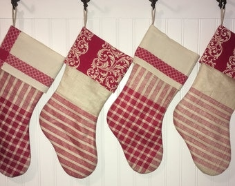 Elegant Vintage Linen Christmas Stocking Set of 4 Red Ecru Plaid Stripe Family Christmas Stockings