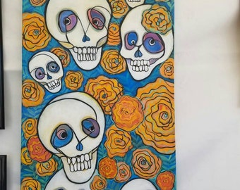 Day of the Dead - 18x38 original acrylic painting