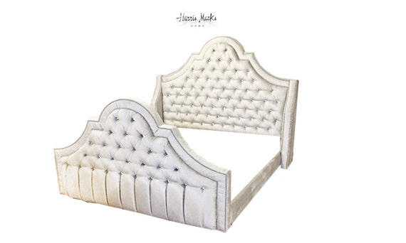 Wingback diamond tufted bed frame extra tall hollywood regency - Extra tall bed frame queen ...