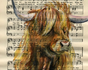 """Highland Cow, Cattle - Original watercolor,  on antique book page - The Scottish Student Song Book 10"""" x 7"""""""