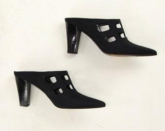 VINTAGE 1990s Mules Black Cutout Heels Size 6