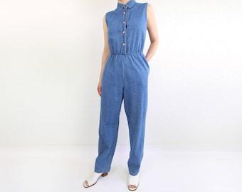 VINTAGE Denim Jumpsuit Sleeveless 1990s Jeans