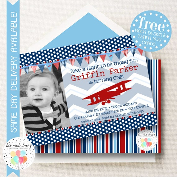 vintage airplane invitation for boys birthday party printable
