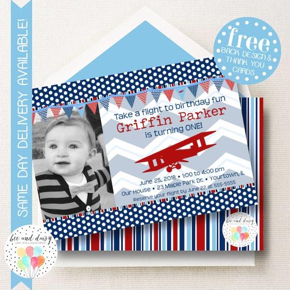 Vintage Airplane Invitation Airplane Birthday Invitation Airplane