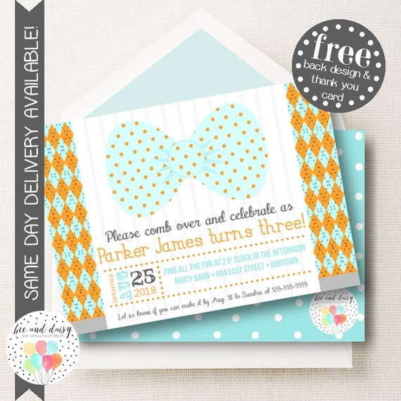 Bow tie invitation bow tie birthday invitation bow tie birthday il570xn filmwisefo