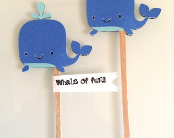 Set of six (6) Nautical - Blue whales cupcake toppers perfect for birthday parties - boys - girls -  baby shower - summer party
