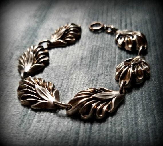 Sterling Silver Fluted Leaf Bracelet
