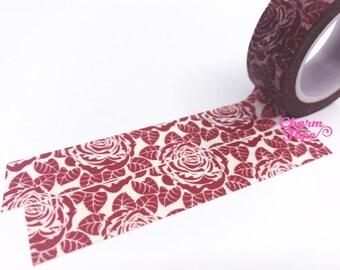 Maroon Rose Washi Tape 15mm x 10m WT439