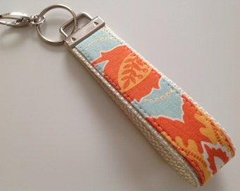 Keychain Wristlet, Chunky Key Fob, Fabric Keychain, Gift For Coworker, Gift Under 10