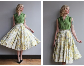1950s Skirt // Sparkling Rose Circle Skirt // vintage 50s skirt