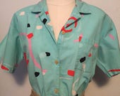 Boomclub funky 1980s short sleeve button up surf skater shirt