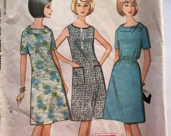 60s McCall's 7731 Lightly Flared Dress or Jumper with Short Sleeves and Bias Collar Size 12 Chest 32